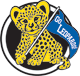 "Lakeview logo: leopard holding a ""Go Leopards!"" flag"